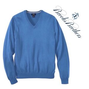 Brooks Brothers V-Neck Wool Sweater Sky Blue